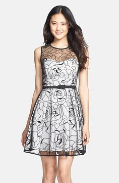 floral embroidered mesh overlay fit & flare.... stunning