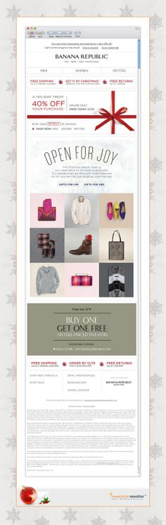 Brand: Banana Republic | Subject: 'Tis better to give (the best gifts) and take 40% off! | Sending Date: December 10, 2013
