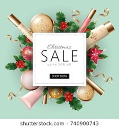 New Year special offer square frame promotional poster vector illustration Cosmetic Web, Cosmetic Design, Banner Design Inspiration, Web Banner Design, 3d Christmas, Christmas Poster, Makeup Poster, Sale Banner, Sale Poster