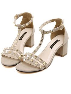 Korea style rivet thick heel women sandals YS-C5618-Lovelyshoes.net