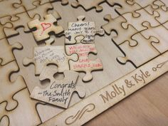 200 PIECE blank wooden puzzle wedding guest book by WeddingWhims