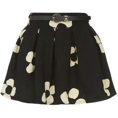 Black Daisy Print Belted Skater Skirt