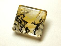 Genuine Emerald Cut & Faceted Dendritic Agate by SpookyHollowGems
