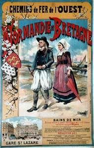 Vintage #travel poster: Normandie - Bretagne, #France  Chemins de Fer de l'Ouest