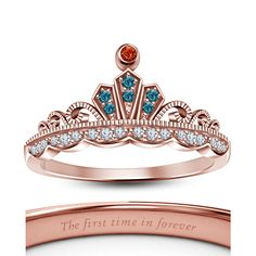 Women's Multi-Color Disney Wedding Crown Ariel Princess Ring In White Gold Over… Crown Wedding Ring, Crown Engagement Ring, Wedding Jewelry, Wedding Rings, Colar Disney, Disney Princess Engagement Rings, Buy Jewellery Online, White Gold Rings, Rose Gold Plates