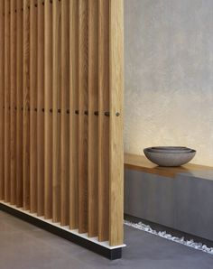 MEDD - Health Design will inspire you with unique medical design ideas. We will share trends, interior design, lifestyle, contract and all about medical architecture. Decor, Wood Slat Wall, House Design, Interior, Studio Apartment Divider, Grey Interior Doors, House Interior, Medical Office Decor, Room Partition Designs
