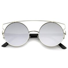 715a550a5c Retro Modern Round Cross Bar Mirrored Lens Sunglasses A543