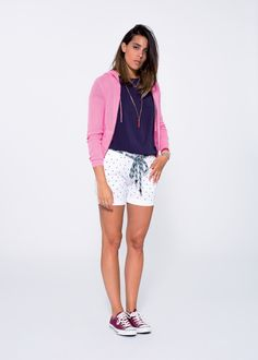 Dive into next Summer's colourful, lively and kaleidoscopic visions with this simple and sporty, sophisticated and refined look.  SUN68 Woman SS15 #SUN68 #SS15 #woman #shorts #fleece #shirt