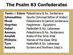 Psalm 83.  With the Arab Spring that began a little over a year ago we see all the nations mentioned in bible prophecy awakening.  Bill Salus gives a prophecy update in light of these recent events in this video presentation.  What does God's Word, the Bible, say about the Middle East and the next Prophetic Fulfillment of Bible Prophecy?