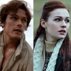What a great way to show the likenesses between these two lovely people. I think there's a pretty believable resemblance there. Just lovely! Outlander Season 3, Outlander 3, Outlander Casting, Sam Heughan Outlander, Outlander Knitting, Outlander Book Series, Starz Series, Diana Gabaldon, Comics