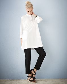 summer fashion over 60 dresses Summer Work Outfits, Cool Outfits, Casual Outfits, Capsule Wardrobe Mom, Layered Fashion, Layering Outfits, Elegant Outfit, Fashion Over, Eileen Fisher