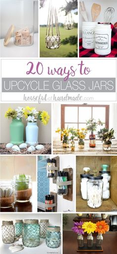 Don t throw away those old jars bottles reuse them instead Here are 20 ways to Upcycle Glass Jars Bottles as home decor and storage Upcycle Jars Reuse Jars DIY Home Decor Upcycled Home Decor Ways to Recycle Glass # Crafts With Glass Jars, Glass Bottle Crafts, Jar Crafts, Diy Projects Glass Jars, Decorating With Glass Bottles, Glass Jars With Lids, Reuse Candle Jars, Reuse Jars, Reuse Recycle