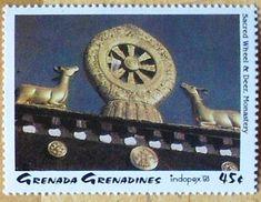 Stamp: Sacred Wheel & Deer, Monastery (Grenada Grenadines) (Indopex '93) Mi:GD-GR 1753,Sn:GD-GR 1572