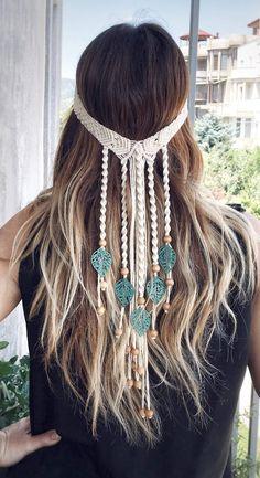 Kleidung Design, Diy Kleidung, Macrame Headband, Macrame Jewelry, Etsy Macrame, Macrame Design, Macrame Patterns, Bridal Hair Accessories, Hair Pieces