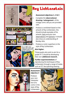 Gcse art ideas projects people 44 ideas for 2019 Roy Lichtenstein Pop Art, Comic Kunst, Glitter Wall Art, Pop Art Images, Street Art Love, 7th Grade Art, Observational Drawing, Art Worksheets, Pop Art Portraits