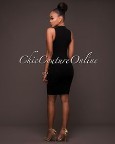 Chic Couture Online - Constance Black Ribbed Gold Zipper Front Dress, (http://www.chiccoutureonline.com/constance-black-ribbed-gold-zipper-front-dress/)