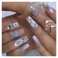 """If you're unfamiliar with nail trends and you hear the words """"coffin nails,"""" what comes to mind? It's not nails with coffins drawn on them. Although, that would be a cute look for Halloween. It's long nails with a square tip, and the look has. Long Acrylic Nails, Cute Acrylic Nails, Acrylic Nail Designs, Nail Art Designs, Ongles Bling Bling, Bling Nails, Bling Nail Art, Coffin Nails Matte, Gel Nails"""