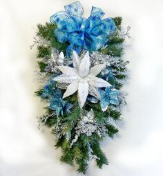 Christmas Swag Blue and Icy Christmas Wreath Front by Floralwoods, $58.00