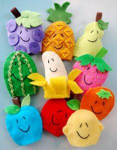Marionetas de dedo de frutas de fieltro patrones de costura - PDF ePATTERN                                                                                                                                                                                 Más