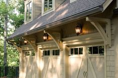 Replacing your garage doors is one of the simplest ways to dramatically enhance your home's curb appeal. At EXOVATIONS, we have helped countless homeowners in Atlanta, Georgia and surrounding areas with their garage door needs. Garage Door Styles, Garage Door Design, Carriage Garage Doors, Garage Remodel, Garage Renovation, Kitchen Remodel, Garage Lighting, Outdoor Garage Lights, Exterior Lighting