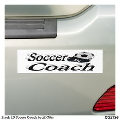 Black 3D Soccer Coach Bumper Sticker