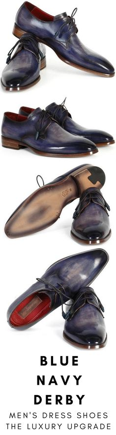 Mens dress shoe in blue navy Derby by Paul Parkman. Luxury mens handmade dress shoes, formal shoes, business shoes for any occasion. These shoes come in multiple sizes. They are hand-painted with care by expert shoemakers. #mensdressshoes #dressshoes #shoes #mensfashion #socks #laces #handmade #bestshoes #luxuryshoes #businessshoes #formalshoes