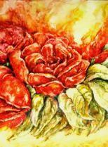 """""""Rosen"""", auf Lana, mit Passepartout 50 x 70 cm"""