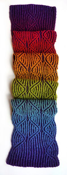 Ravelry: Rainbow's End pattern by Nancy Marchant : $5.00.  500-600 yards each of two colors (one solid, one slow striping) 4ply fingering yarn.