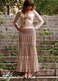 Купить Юбка длинная из хлопка - юбка, вязаная юбка, длинная юбка, юбка крючком