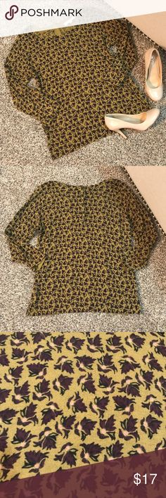 LOFT 3/4 Sleeve Top Ann Taylor LOFT. Excellent condition, never worn! Buttons up in the back. Perfect for fall! LOFT Tops Tees - Long Sleeve