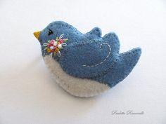 Felt Pin / Blue Bird Pin / Felt brooch by Beedeebabee on Etsy, $24.00