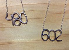 """Frances loves the """"602"""" and the (brand new) """"480"""" necklaces we just received in from one of our favorite local artists, Ashley Weber!!"""