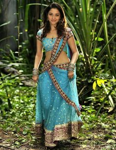 in - Sari South Indian Actress Tamanna Hot Milky White Navel Exposure In Blue Saree Fashion Tips For Women, Fashion Advice, Fashion Outfits, Womens Fashion, Fashion Ideas, Lehenga Saree Design, Sari, Most Beautiful Indian Actress, Beautiful Actresses