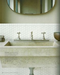 cement sink basin via the vintage home- DUDE. penny octagon tile, this is sick. Honeycomb Tile, Hexagon Tiles, Hex Tile, Penny Tile, Mosaic Tiles, Wall Tiles, Backsplash Tile, Tiling, Bad Inspiration