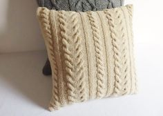 Natural repurposed wool cable knit pillow cover by Adorablewares