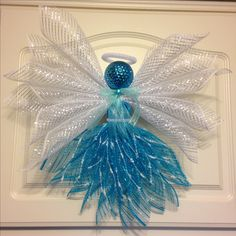 Teal and White Deco Mesh Angel