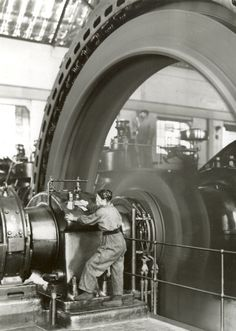 Woman at BASF gas engine power house in 1917 by BASF: HistoryPorn