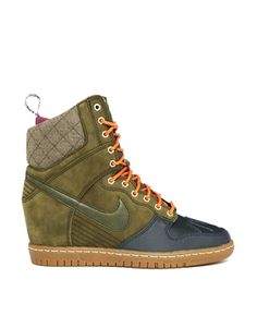 """#Nike Dunk Sky High SneakerBoot Wedge Trainer. Now I'm not into """"sneakers trying to be pumps"""" but for some reason I'm drawn to these. They don't look ridiculous."""