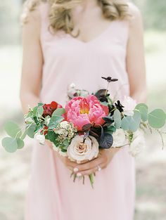 Emma Lea Floral - Connie Whitlock- Della Terra Wedding- ColoradoEmma Lea Floral - Connie Whitlock- Della Terra Wedding- Colorado | Mountain Wedding | Bridesmaid Bouquet | Peony | Rose | Eucalyptus | Pink, Blush, Burgundy |