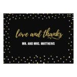 #white - Black Gold Wedding Love and Thank You Card