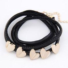 Five heart pendants leather rope teen black bracelet