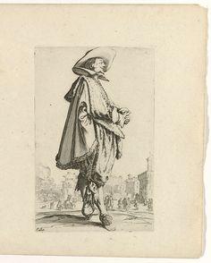 Jacques Callot   Edelman met hoed, de handen gevouwen, naar rechts, Jacques Callot, 1624  