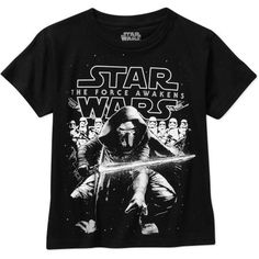 Star Wars The Force Awakens Big Men's Graphic Tee, Size: 2XL, Black