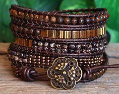 Beaded Leather Five Wrap Bracelet, Brown Bronze Beaded Wrap, Tila Bronzite Picasso Czech Glass Bead Bracelet, Bohemian Five Wrap Bracelet