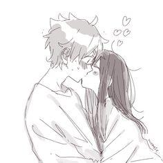 Couple Anime Manga, Anime Couple Kiss, Anime Couples Drawings, Anime Couples Manga, Anime Poses, Anime Girls, Anime Couples Hugging, Manga Anime, Anime Bisou