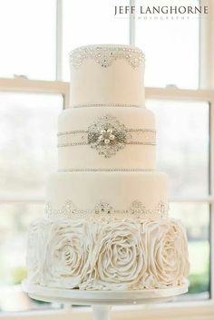 Cookie Couture wedding cake. Classic white with sparkle.