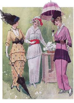 1914 Day Dresses-About the time her father passed & she would have been looking to fall in love.