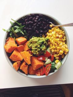 "aspoonfuloflissi: ""Just had this incredibly yummy dinner: steamed sweet potato, arugula, black beans, corn, cucumber, tomato and mashed avocado :) """