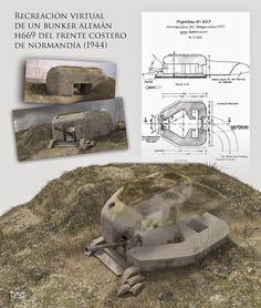 Recreación virtual de un bunker alemán H669 del frente costero de Normandía (1944). Autor: Pablo Aparicio Resco https://plus.google.com/u/0/110628908077983413783/posts