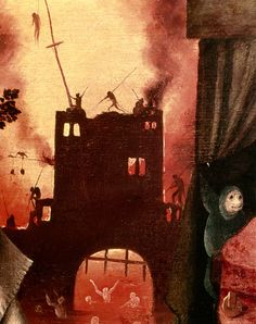 Tondal's Vision, detail of the burning gateway - Hieronymus Bosch (El Bosco) Hieronymus Bosch, University Of South Dakota, Garden Of Earthly Delights, Oil Painting Reproductions, Cool Posters, Paintings For Sale, Oeuvre D'art, Find Art, Canvas Frame